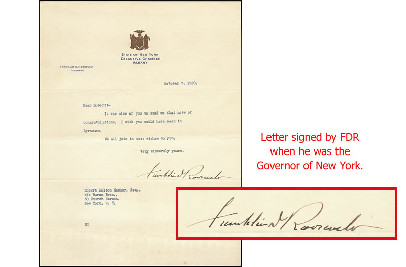 Letter signed by FDR